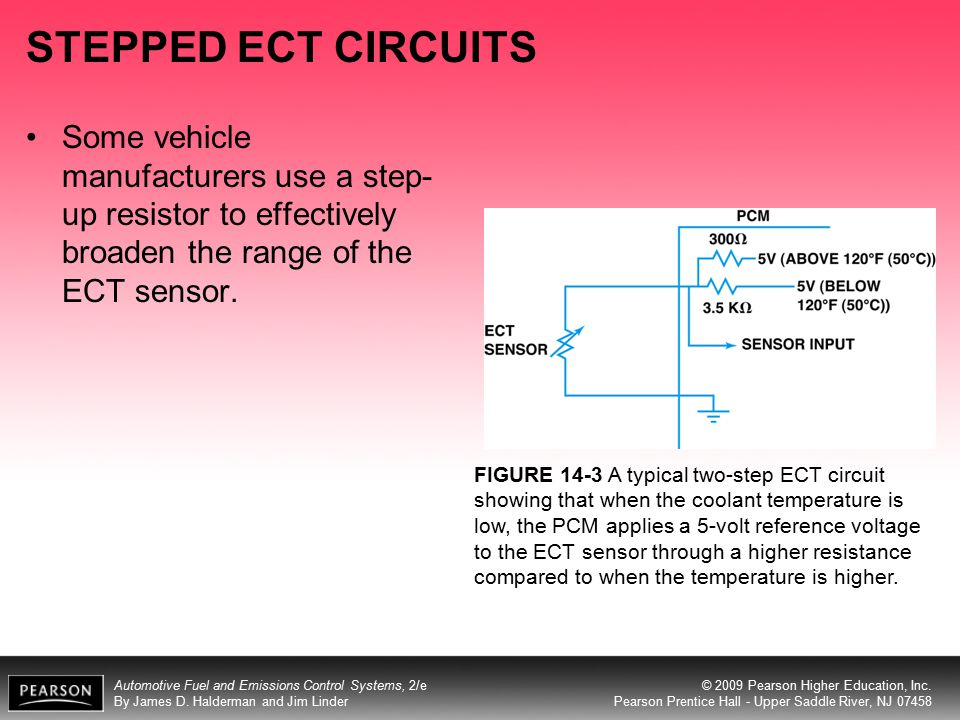 STEPPED ECT CIRCUITS Some vehicle manufacturers use a step-up resistor to effectively broaden the range of the ECT sensor.