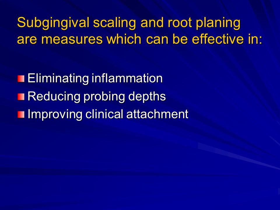 Subgingival scaling and root planing are measures which can be effective in: