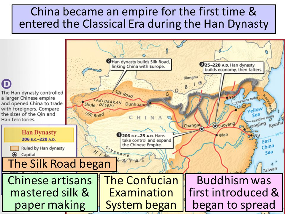 Han Dynasty (206 B.C.-220 A.D.) China became an empire for the first time & entered the Classical Era during the Han Dynasty.