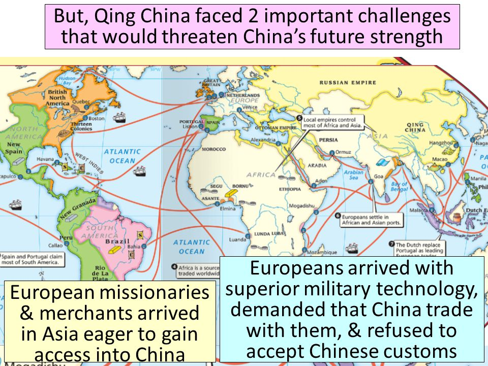 Qing Dynasty ( ) But, Qing China faced 2 important challenges that would threaten China's future strength.
