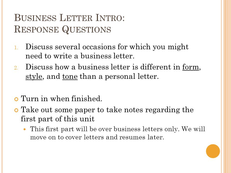 Business letters cover letters resumes ppt video online download 2 business letter intro response questions spiritdancerdesigns Choice Image
