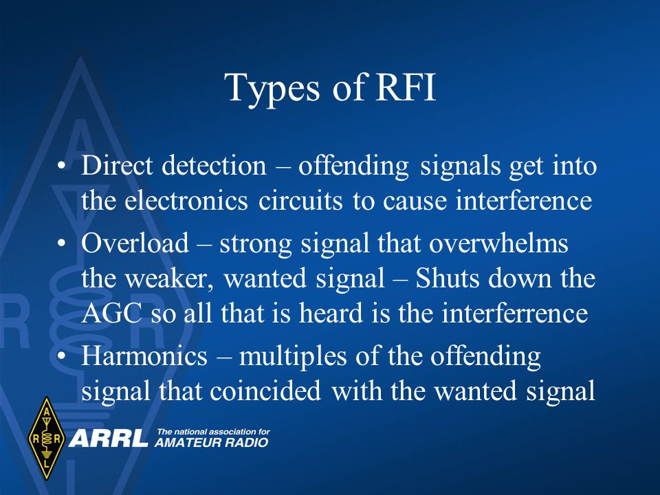Types of RFI Direct detection – offending signals get into the electronics circuits to cause interference.