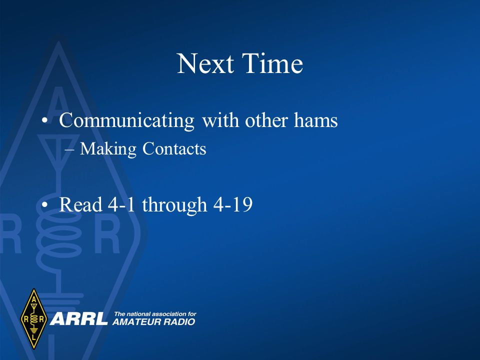 Next Time Communicating with other hams Read 4-1 through 4-19