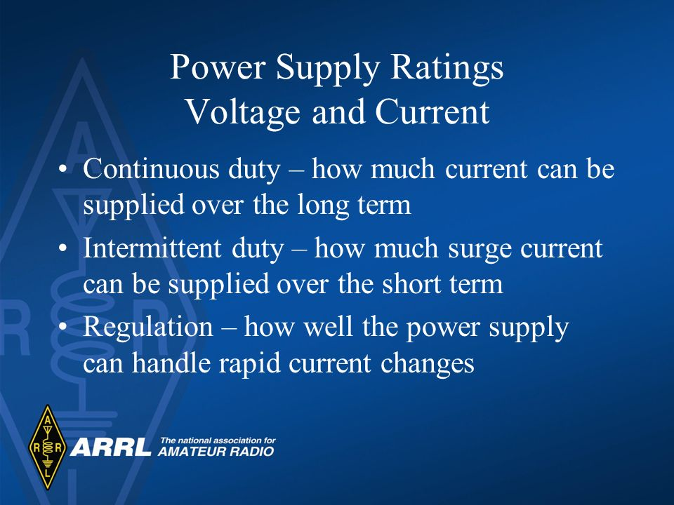 Power Supply Ratings Voltage and Current