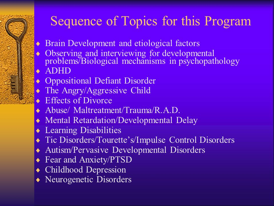 Sequence of Topics for this Program