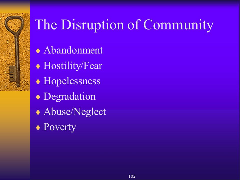 The Disruption of Community