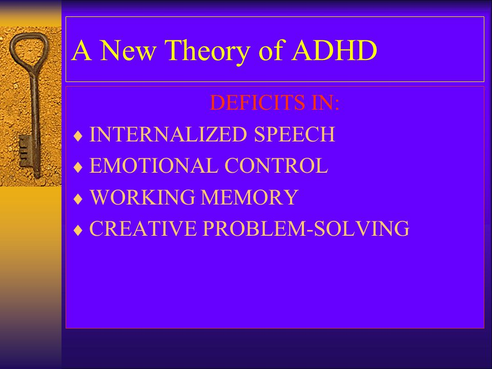 A New Theory of ADHD DEFICITS IN: INTERNALIZED SPEECH