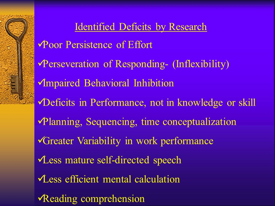 Identified Deficits by Research