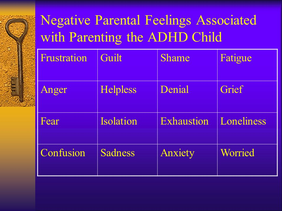 Negative Parental Feelings Associated with Parenting the ADHD Child