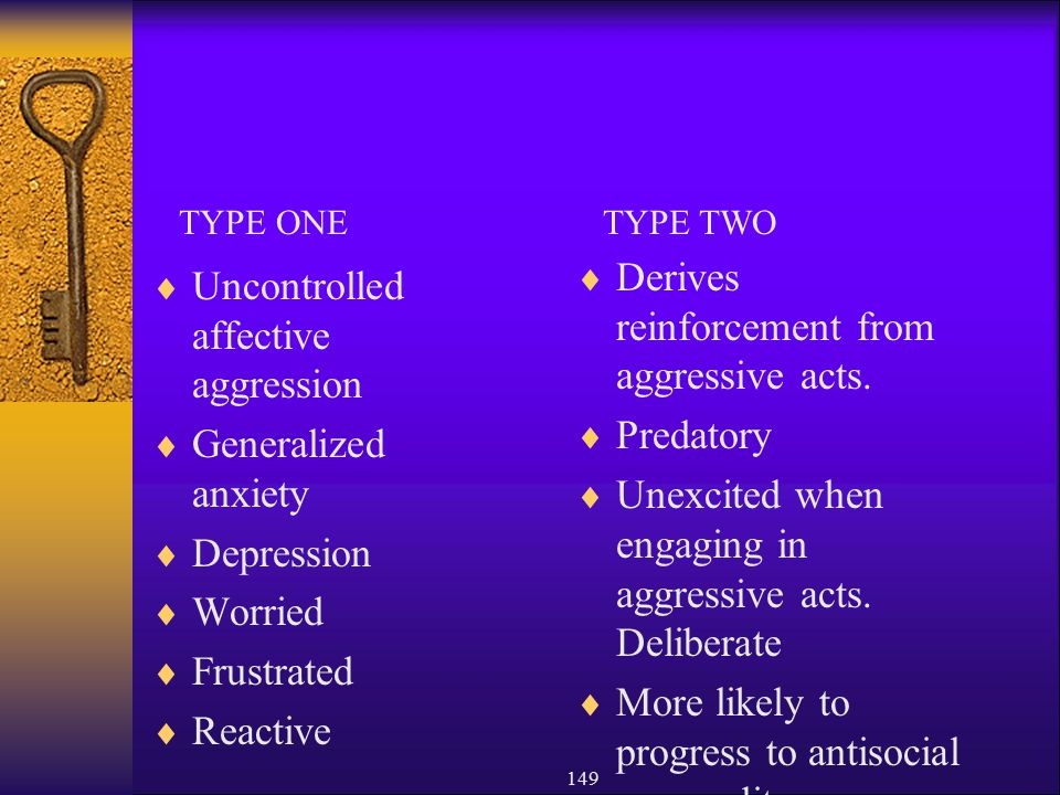 Conduct Disorder Derives reinforcement from aggressive acts.
