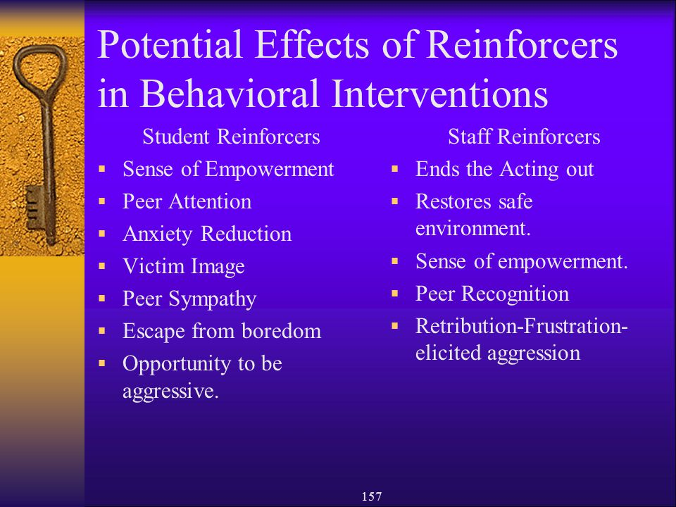 Potential Effects of Reinforcers in Behavioral Interventions