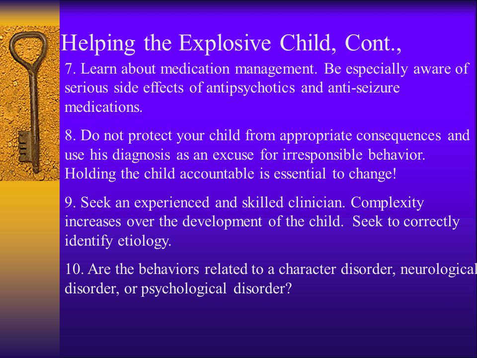Helping the Explosive Child, Cont.,