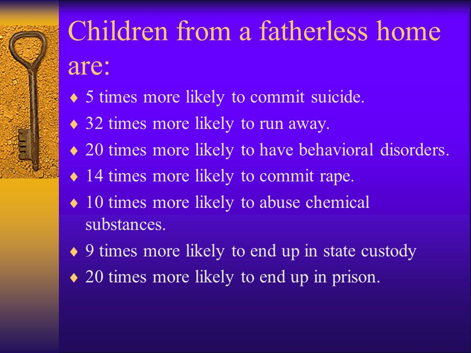 Children from a fatherless home are: