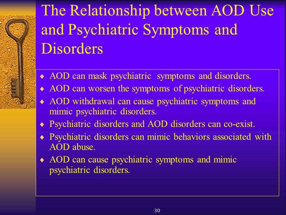 The Relationship between AOD Use and Psychiatric Symptoms and Disorders