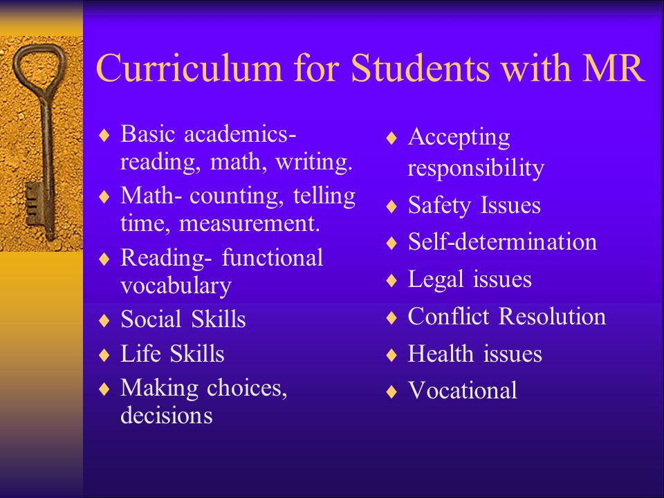 Curriculum for Students with MR