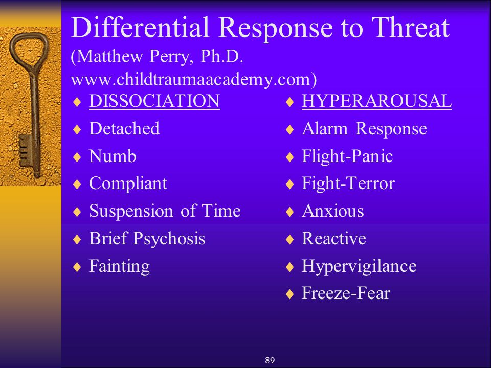 Differential Response to Threat (Matthew Perry, Ph. D. www