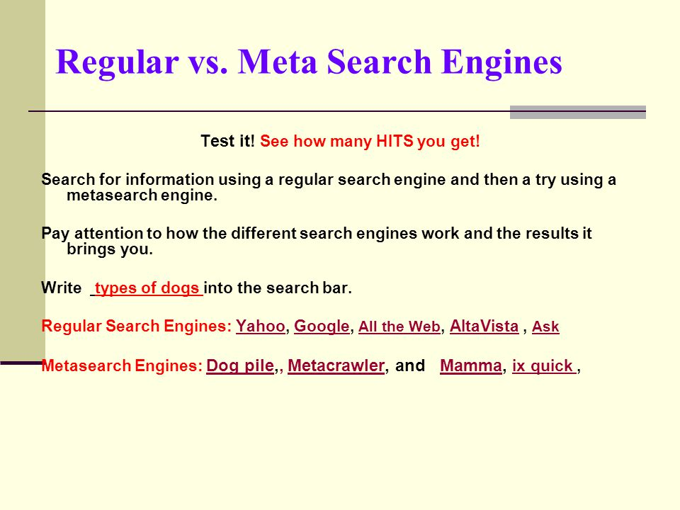 all meta search engines