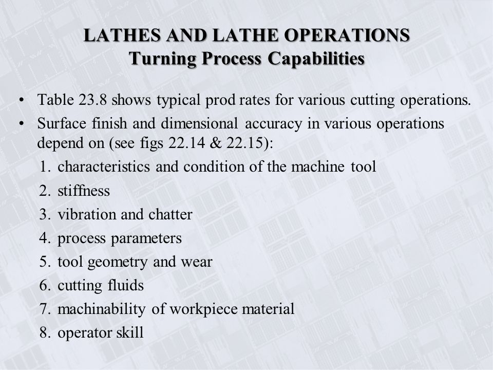 Chapter 23 Machining Processes Used to Produce Round Shapes: Turning