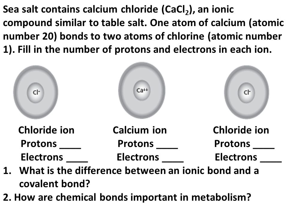 diagram showing protons and electrons in calcium chloride simple