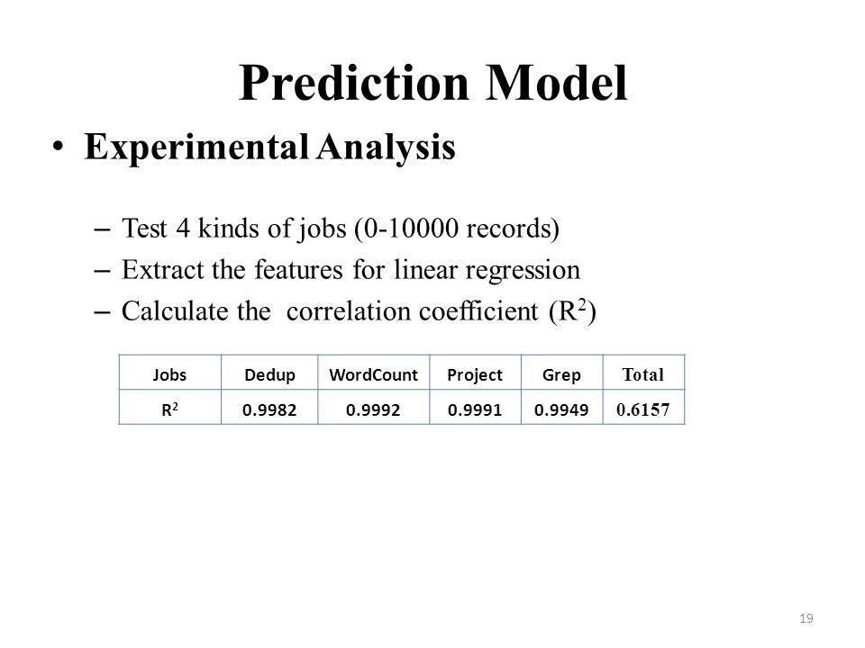 Prediction Model Experimental Analysis