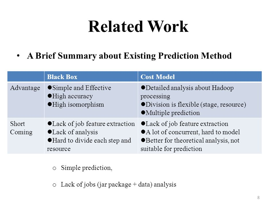 Related Work A Brief Summary about Existing Prediction Method
