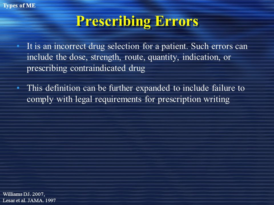 Types of ME Prescribing Errors.