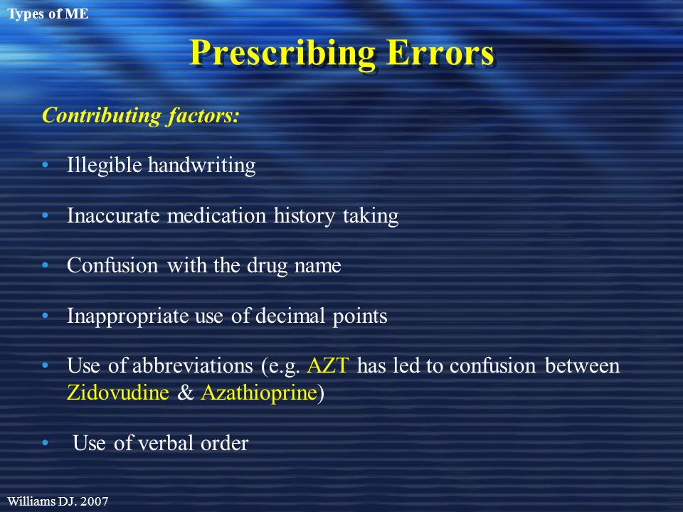 Prescribing Errors Contributing factors: Illegible handwriting