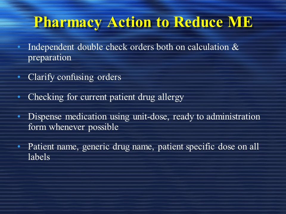Pharmacy Action to Reduce ME