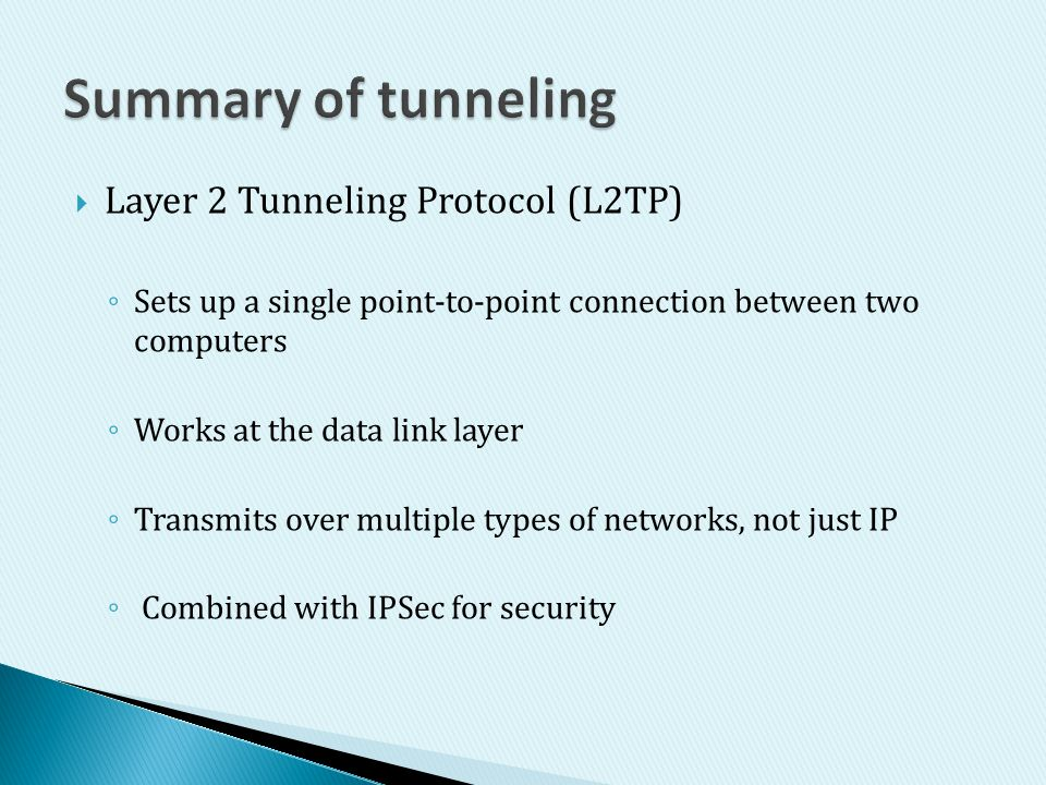 Summary of tunneling Layer 2 Tunneling Protocol (L2TP)