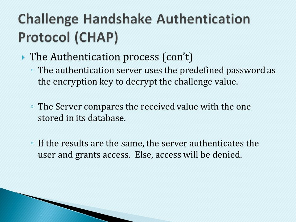 Challenge Handshake Authentication Protocol (CHAP)