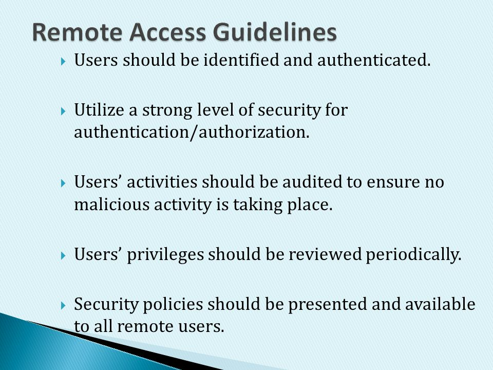 Remote Access Guidelines