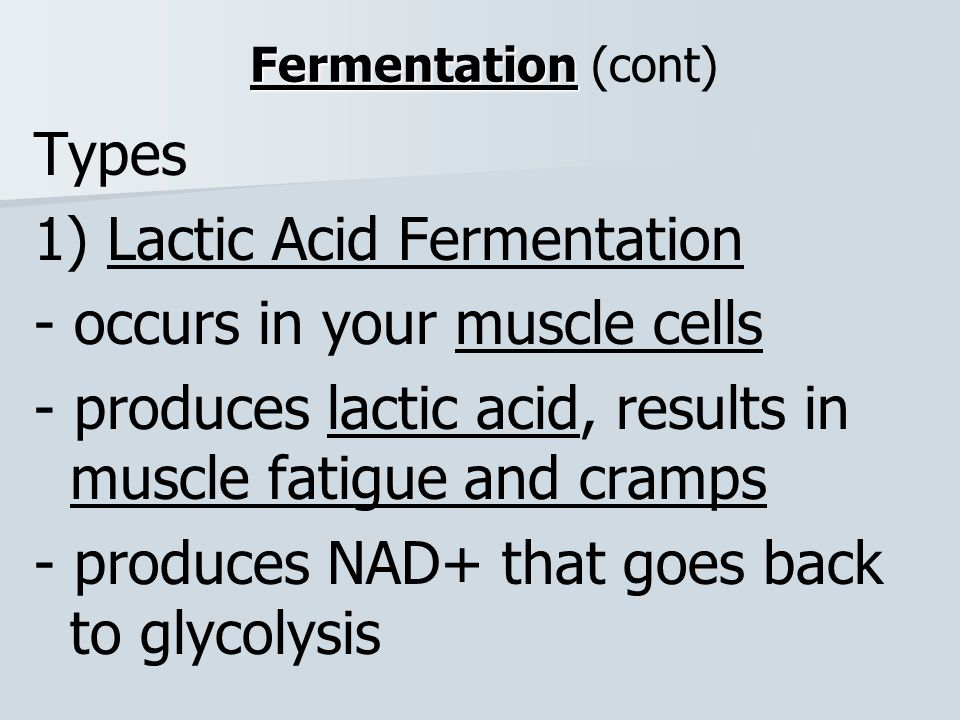 1) Lactic Acid Fermentation - occurs in your muscle cells