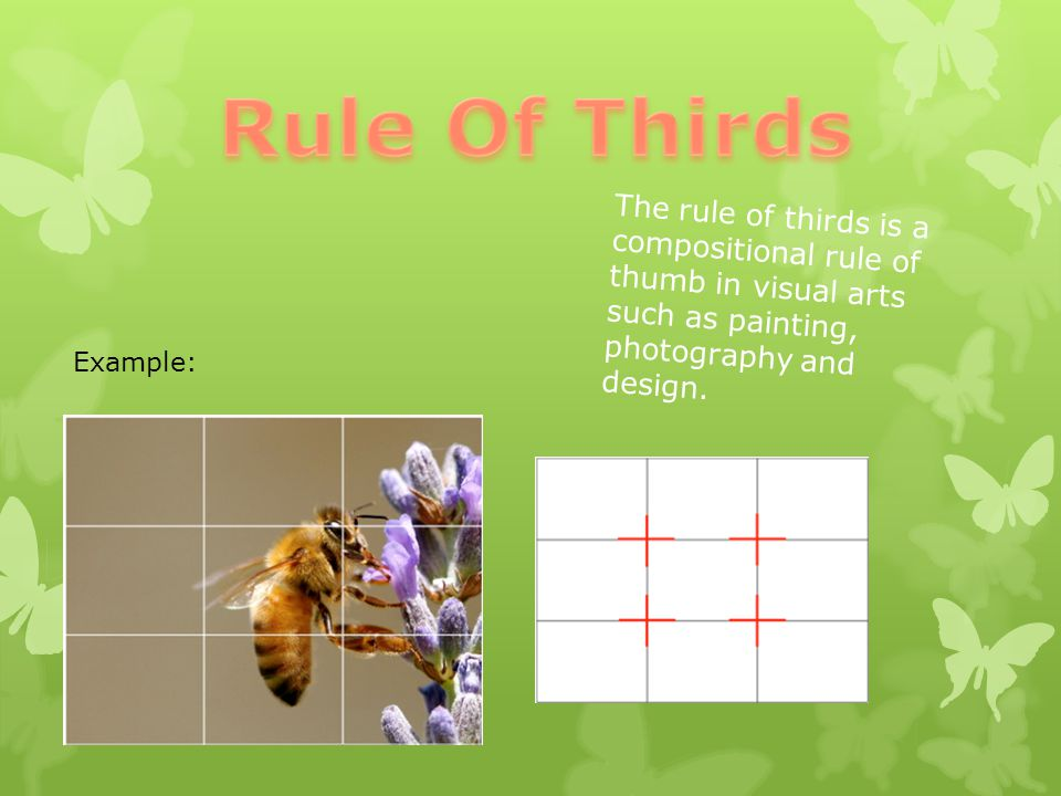 Rule Of Thirds The rule of thirds is a compositional rule of thumb in visual arts such as painting, photography and design.