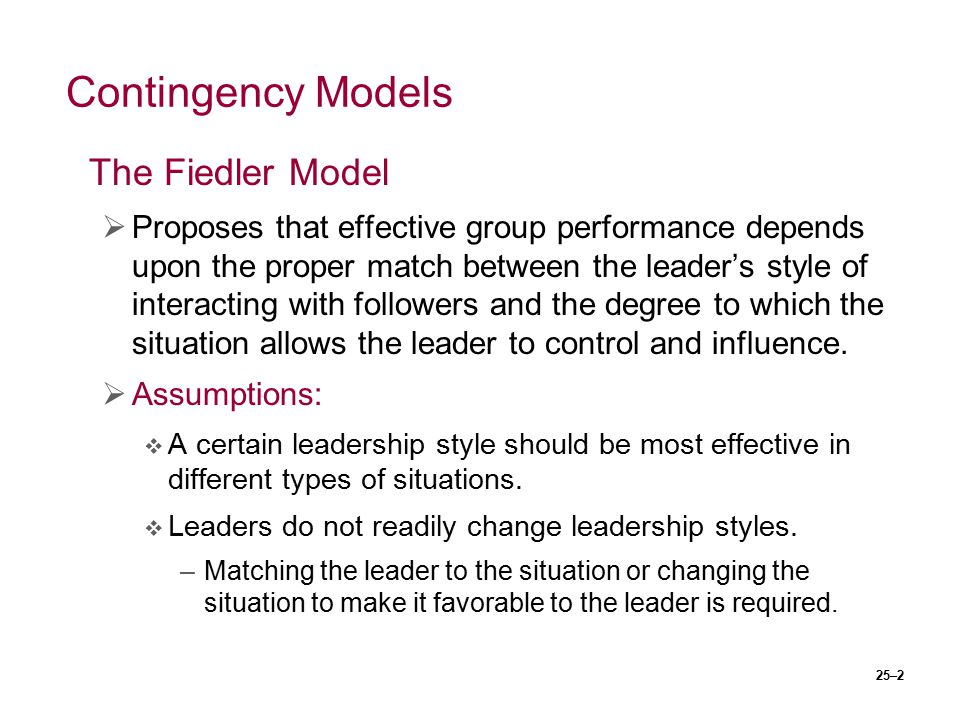 Contingency Models The Fiedler Model