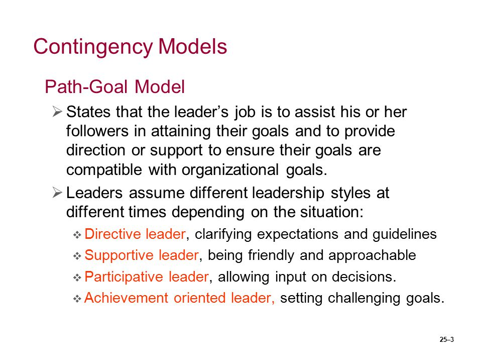 Contingency Models Path-Goal Model
