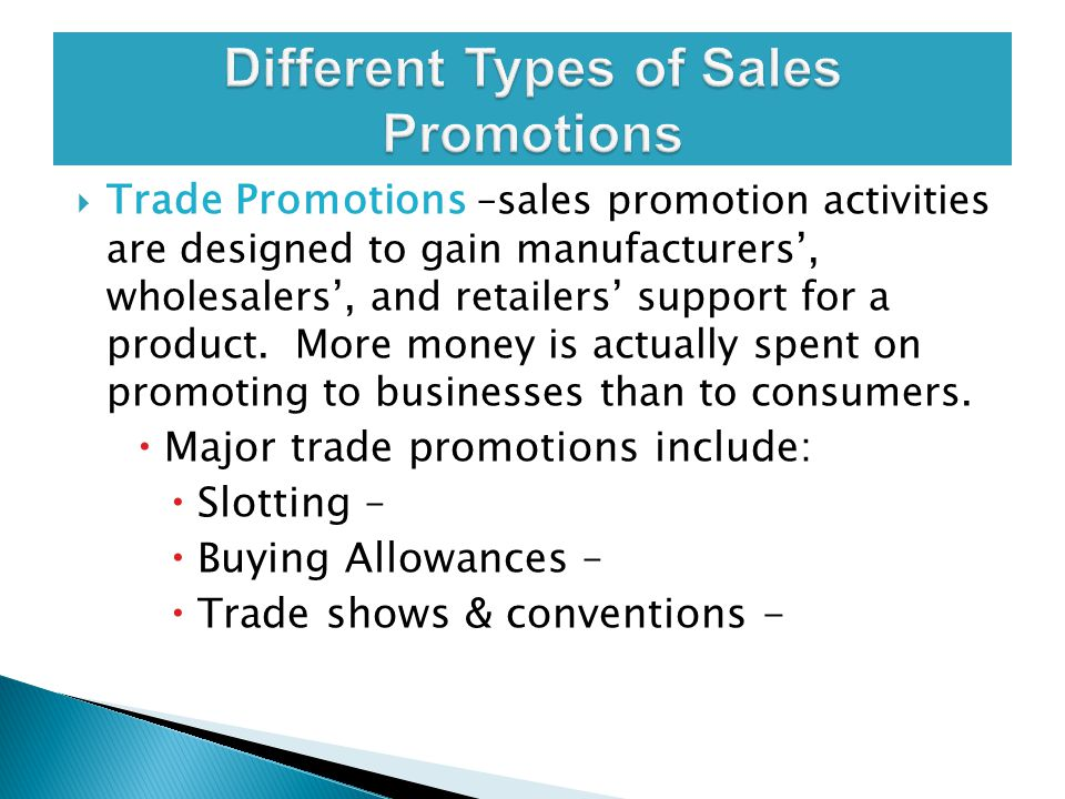 Different Types of Sales Promotions