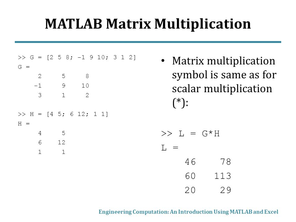 Matrix Mathematics In Matlab And Excel Ppt Video Online Download