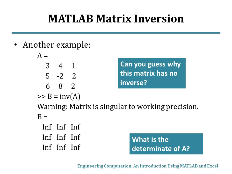 Matrix Mathematics in MATLAB and Excel - ppt video online