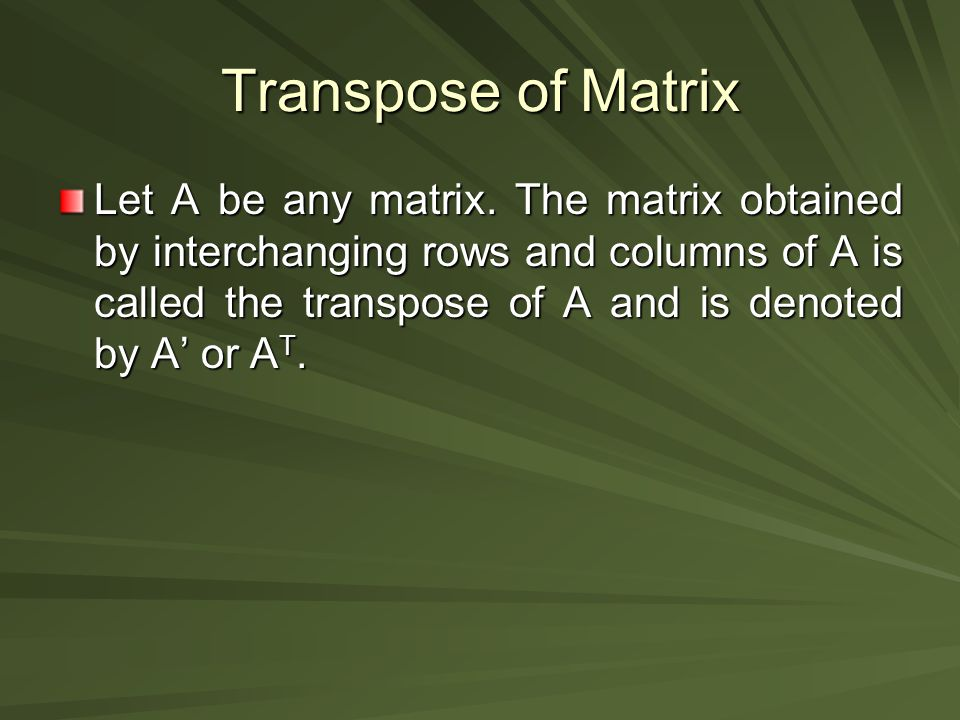 Transpose of Matrix
