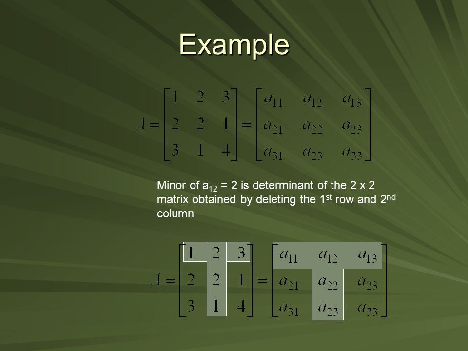 Example Minor of a12 = 2 is determinant of the 2 x 2 matrix obtained by deleting the 1st row and 2nd column.