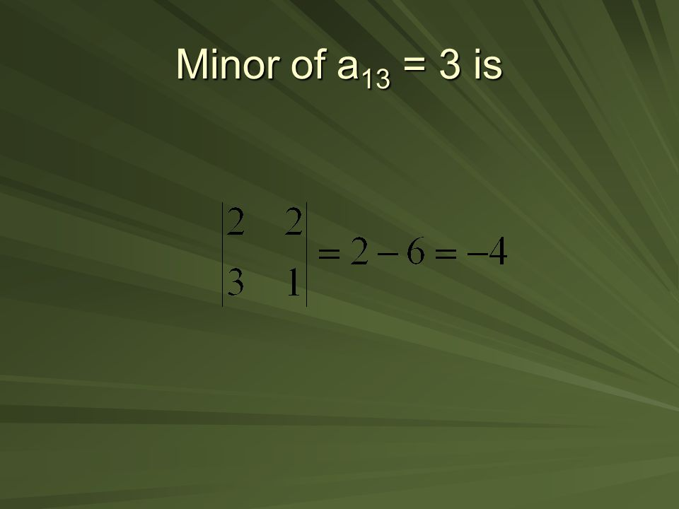 Minor of a13 = 3 is
