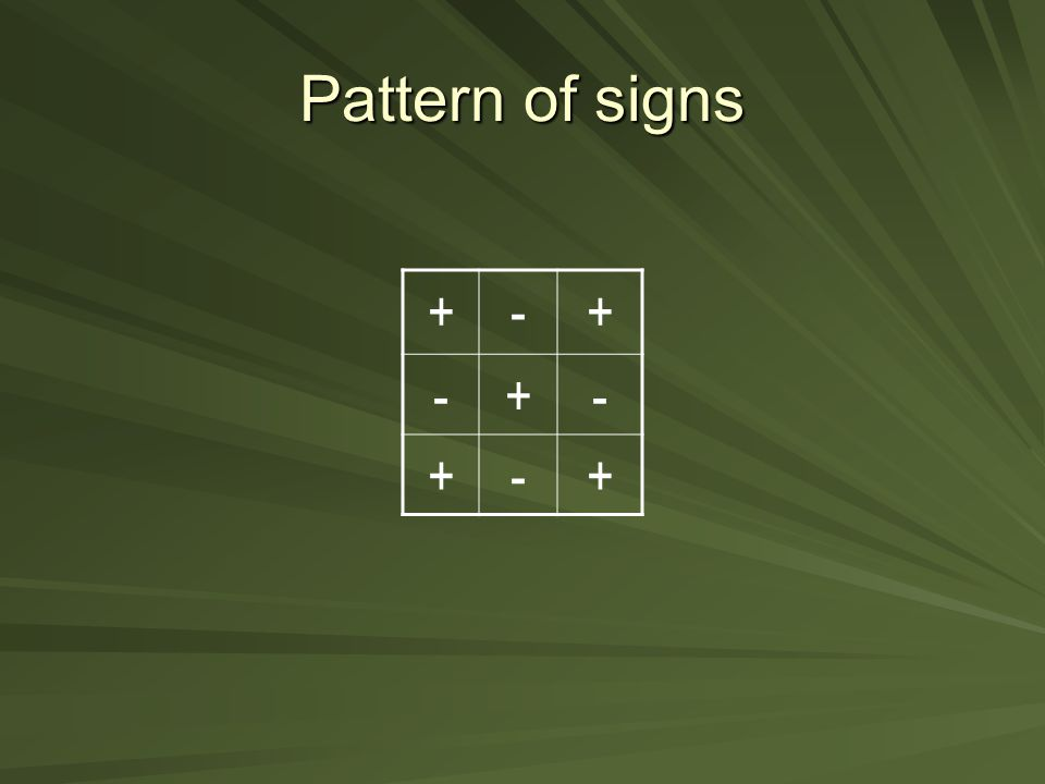 Pattern of signs + -