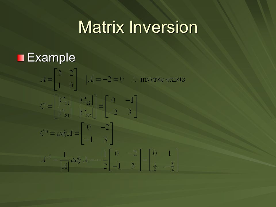 Matrix Inversion Example
