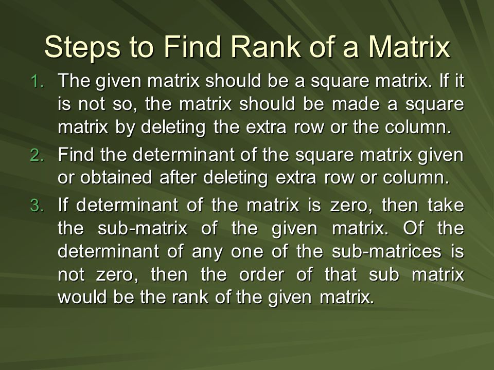 Steps to Find Rank of a Matrix