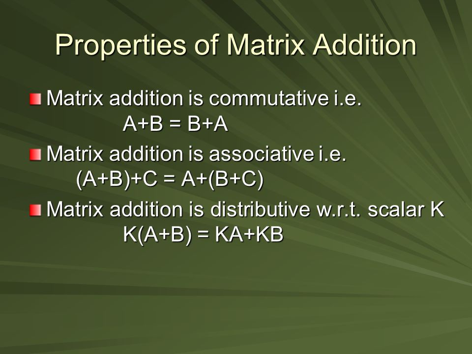Properties of Matrix Addition