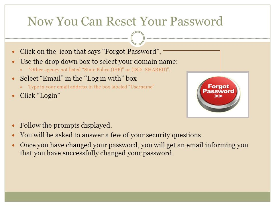 Now You Can Reset Your Password