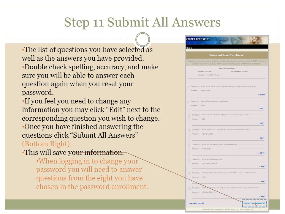 Step 11 Submit All Answers