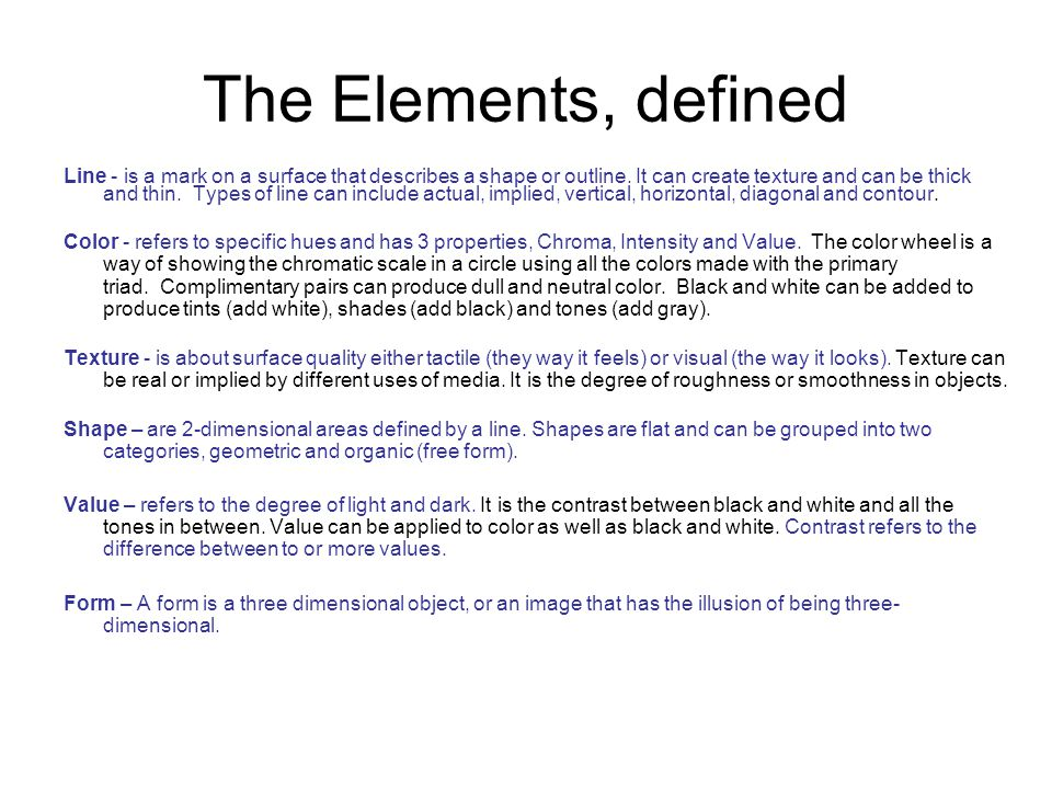 The Elements Defined