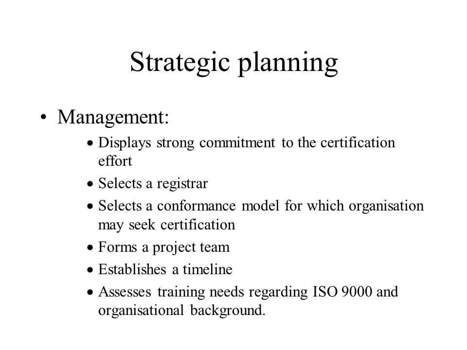Strategic planning Management: