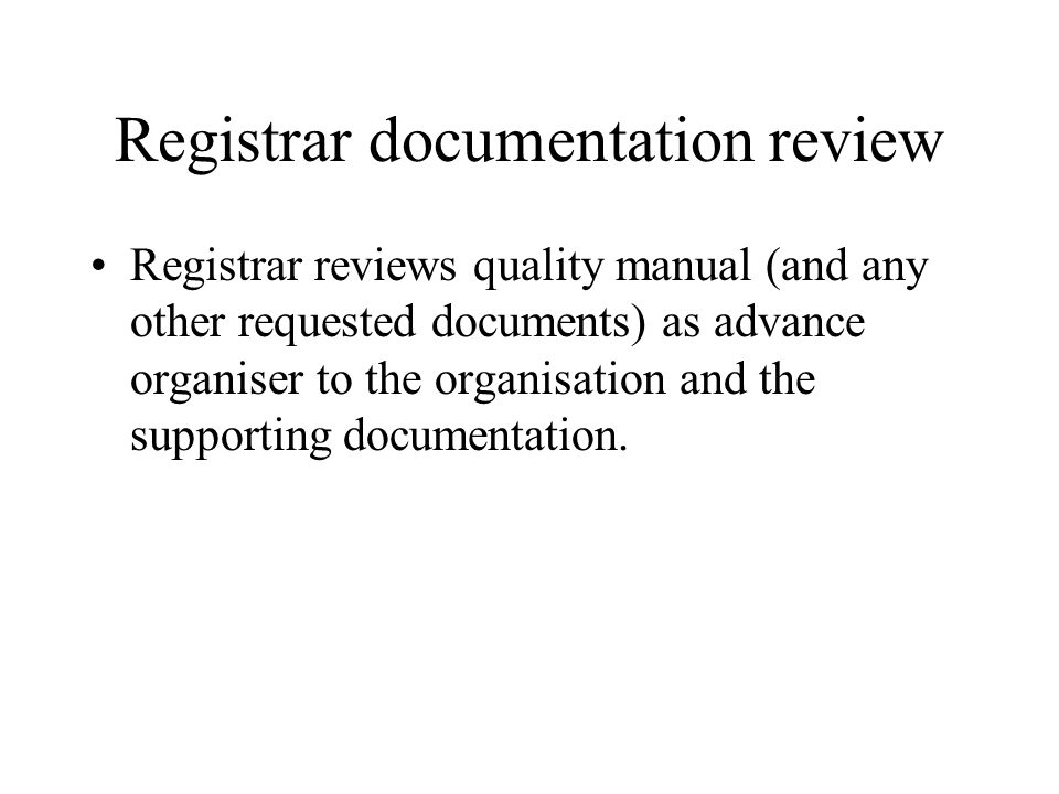Registrar documentation review